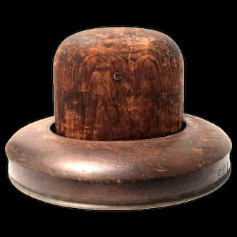 Vintage Two-Piece Wooden Hat Block (Center and Brim)
