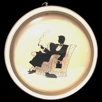 Reverse Painted 1940's Silhouette Picture with Convex Glass in Round Frame