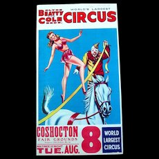 Original Old Clyde-Beatty Circus Poster, Dancing Girl on White Horse