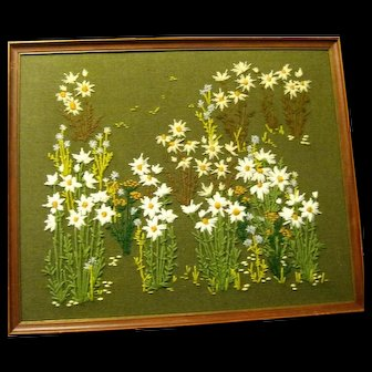 Framed Crewel Embroidered Linen Daisies Picture
