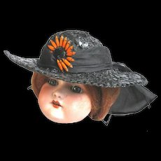 Black Straw Doll Hat with Daisy Ornament over Sheer Band