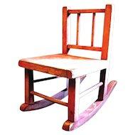 Primitive Pink Depression Era Doll Rocking Chair