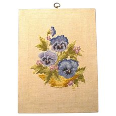 Hand Worked Vintage Crewel Embroidered Wool Pansies on Linen
