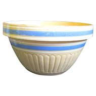 "Vintage McCoy Large 10"" Yellow Ware Blue/White Banded Mixing bowl"