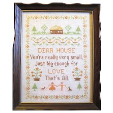 1940's Hand Embroidered Linen Sampler in Wooden Frame of the Period