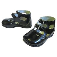 Child's or Large Doll's Chic Patent Leather High Top Buckle Shoes