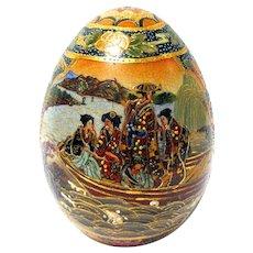 Vintage Satsuma Porcelain Egg with Moriage Decoration