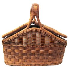 Vintage Wicker Double Lidded Hinged Picnic Basket, Closes in the Center