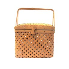 Small Vintage Woven Rattan Basket with Hinged Lid, Bamboo Swing Handles