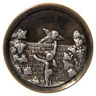 """Large Metal Victorian Picture Button, Cherubs, Putti Climb """"Over the Wall"""""""