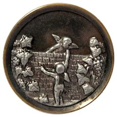 "Large Metal Victorian Picture Button, Cherubs, Putti Climb ""Over the Wall"""