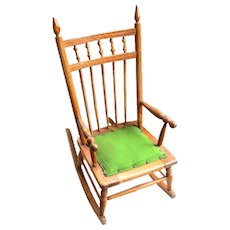 Late 1800's Child's Ball and Stick Oak Rocking Chair