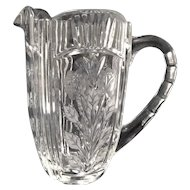 Gorgeous Lead Crystal Water Pitcher, Etched Roses Among Leaves