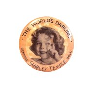 """Original 1930's Shirley Temple """"The World's Darling"""" Celluloid/Metal Pinback"""