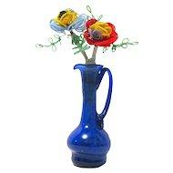 Vintage Beaded Flowers in Cobalt Blue Vase with Applied Handles