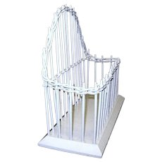 Vintage White Wicker Tabletop Holder for Cards or Letters