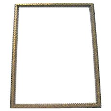 "Large 17"" x  21-3/4"" Vintage Tramp Art Gilt and Silvered Picture Frame"