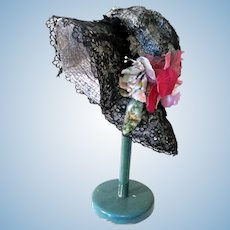 Vintage Black lace over Gray Straw Doll Hat