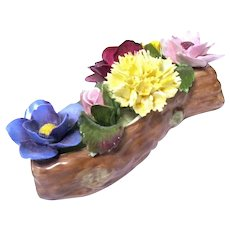 Denton Bone China Porcelain Flowers on Log Paperweight