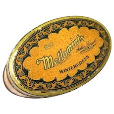 Vintage 1920 Oval Mellomints Advertising Tin, Brandle Smith Co., Philadelphia