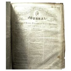 "Hard Bound 1851-52 Periodical, ""American Phrenological Journal"""