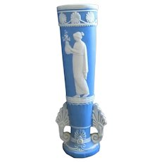 Vintage Blue and White Jasperware Vase with Classic figure