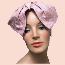 "Lady's Vintage Pink Cloth Straw ""Martha Cooper"" Hat"