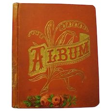 """11-1/2"""" x 13-3/4"""" Victorian Scrapbook, """"For the Children All, Christmas, 1892, 'Mama'"""""""