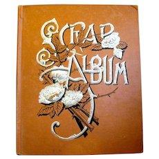 Large Russet Covered Victorian Scrapbook , Trade Cards, Santa Scraps, Flowers