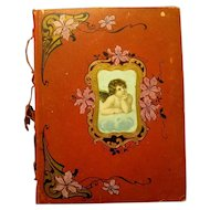 30-Page Large Red Victorian Scrapbook with Scrap Cupid, Ties on Spine