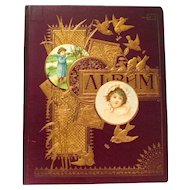 Dated 1876 Victorian Scrapbook, Penmanship Cat, Trade Cards, and More