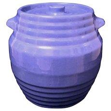 Vintage 1935 Pfaltzgraff Stoneware Blue Lidded Crock