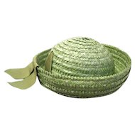Lady's Vintage Apple Green Straw Breton Hat