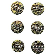 Six Victorian Metal Buttons with Flower, Leaf, Nail Head Design