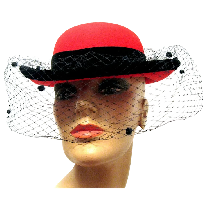 5aeee95f0 Lady's Red Wool Bowler Hat with Black Velvet Bow, Veil, Coque Feathers