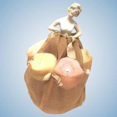 1920's German Porcelain Half Doll Wears Skirt with Powder Puffs