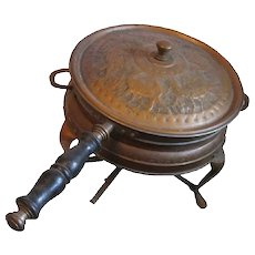 Old and Fancy Tin Lined Copper Chafing Dish in Stand