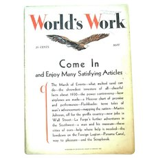 "May, 1931 ""World's Work"" Magazine, Complete 106 Pages"
