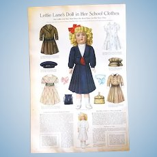 "Original ""Lettie Lane"" Paper Doll Page/Halloween Costumes from 1911 Magazine"