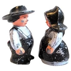 Mid-Century Cast Metal Amish Boy & Girl Salt & Pepper Shakers