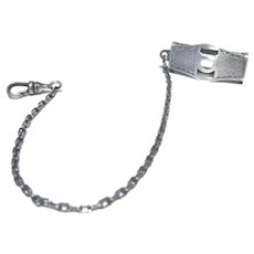 "1920's Sterling Silver Belt Loop Watch fob, Monogrammed ""D"""