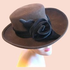Dark Chocolate Lady's Gambler Style Wool Hat with Black Velvet Rose