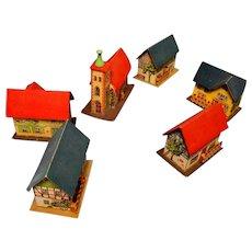 Vintage Cardboard Erzgebirge Christmas Village of Six Buildings