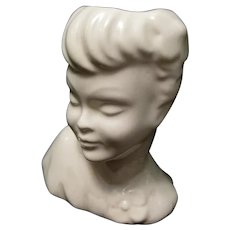 Vintage All White Ceramic Mid-Century Lady's Head Vase