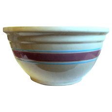 "Large Vintage Watt Pottery 12"" ""Oven-Ware"" Mixing Bowl, Pink, Blue Stripes"