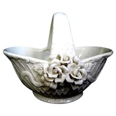 Creamy White Embossed Ceramic Candy Basket with Roses