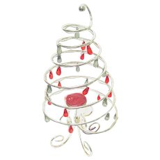 International Silver Plate Spiral Christmas Tree Candle Holder with Ornaments
