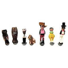 Seven Tiny Hand Carved and Hand Painted Folk Art Roly Poly Toys, 1930's