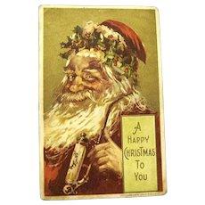 "1908 Bien Christmas Postcard, ""Santa smokes His Pipe"""