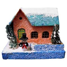 "Vintage Loofah Trees and Snowy Roof on 'Coconut"" House for Christmas Scene"